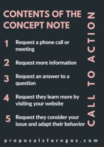 Contents of the Concept Note: Call to Action