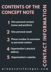 Contents of the Concept Note: Contact Information