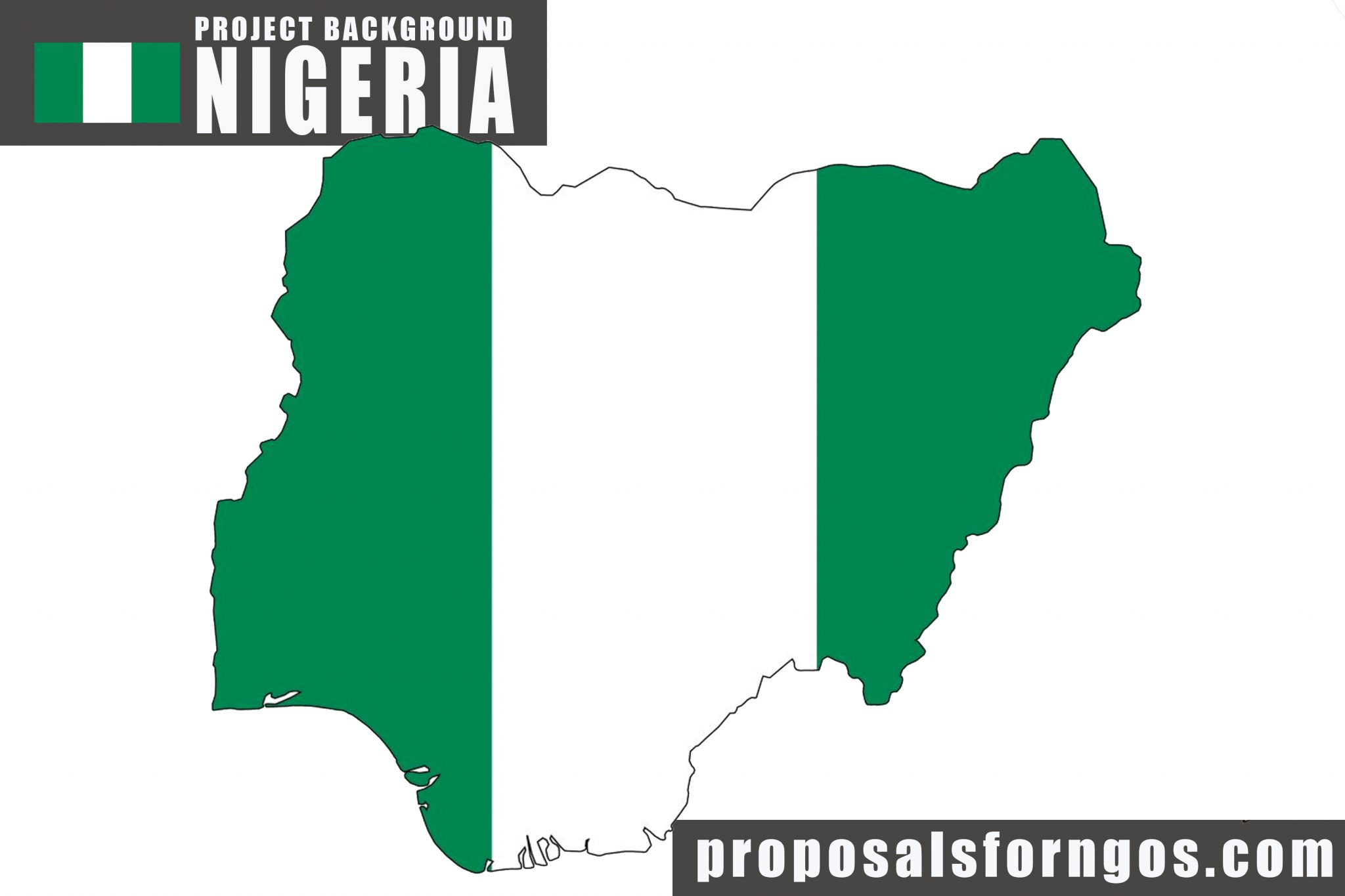 Project Background NIGERIA with map and flag