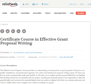 Certificate Course in Effective Grant Proposal Writing